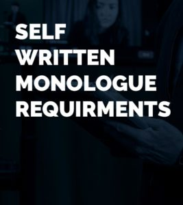 self written monologue requirments title card with coach clay banks writing on a pad.