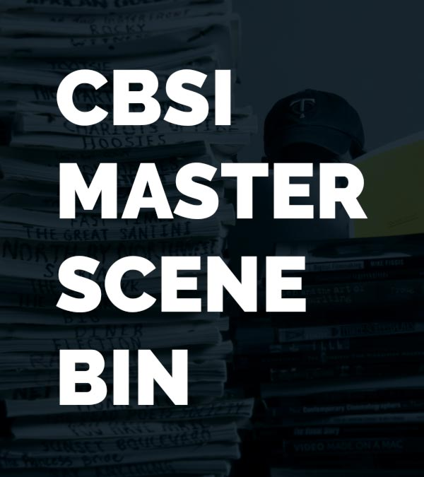 CBSI Master Scene Bin with script writter sitting behind a stack of scripts